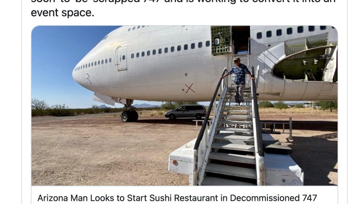 比利時航空747 化身亞利桑那壽司餐廳?