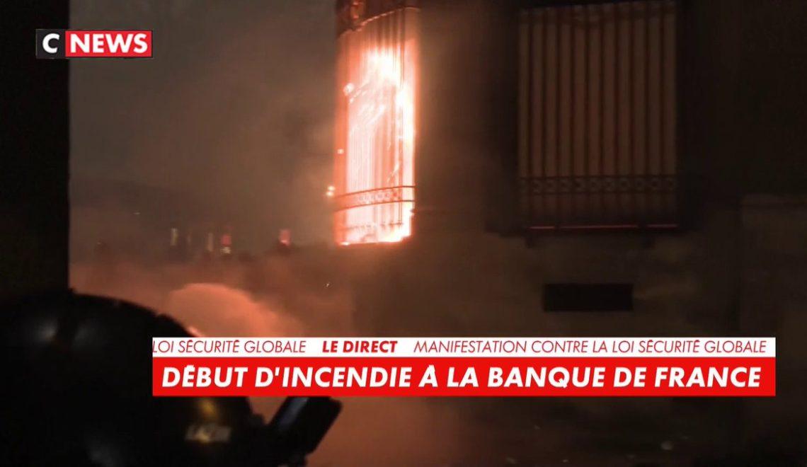 巴黎示威者 就咁縱火燒中央銀行前門
