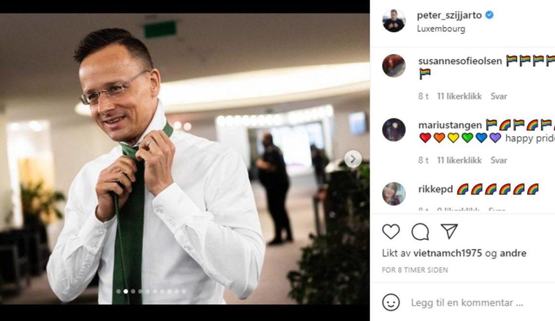 匈牙利外長Instagram 慘遭彩虹攻擊