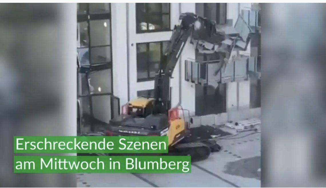 德國工人不滿無出糧 鏟泥車摧毀新樓
